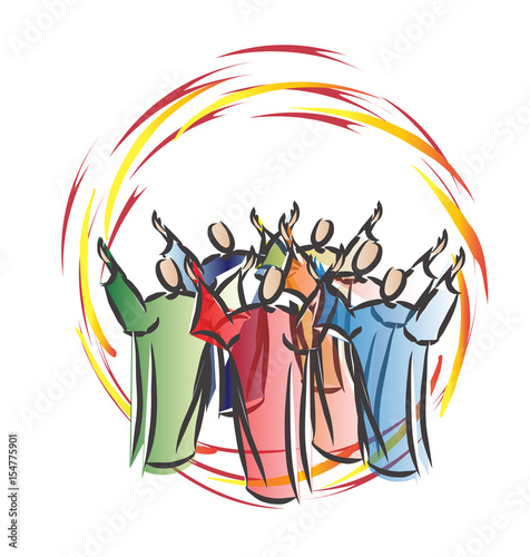 Pentecost - descent of the Holy Spirit in form of tongues of fire, with symbolic people or apostoles Canvas-taulu