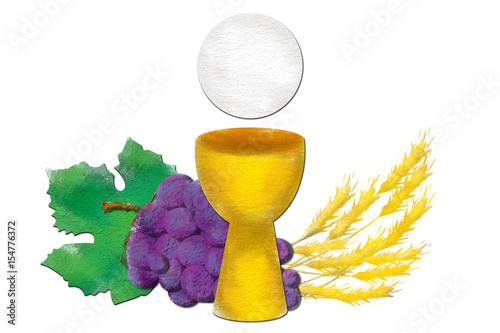 Fotografie, Obraz  Eucharist symbols with chalice and host, bread and wine, with wheat ears and grapes cluster