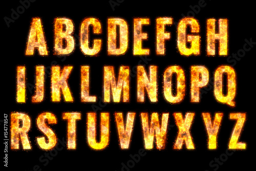 Photographie  Fire alphabet letters. isolated on black background