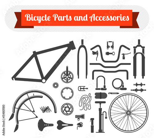 Black Icons Set Of Bicycle Parts And Accessories On White Background