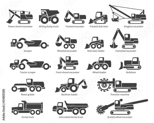 Fotografering  Construction machinery icons set