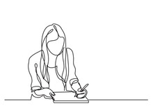 Student Girl Writing - Continuous Line Drawing