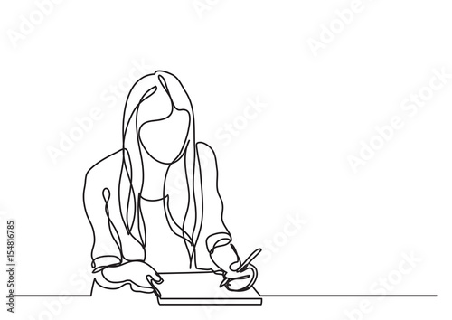 Fotomural student girl writing - continuous line drawing