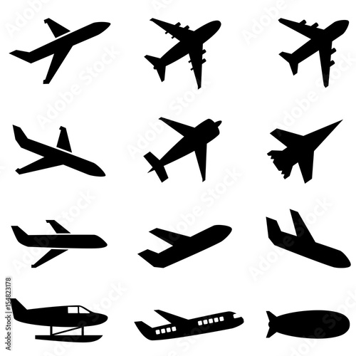 Passenger planes and other airplane icon Canvas Print