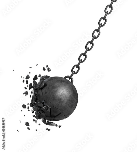 Fotografie, Obraz  3d rendering of a black swinging wrecking ball crashing into a wall on white background