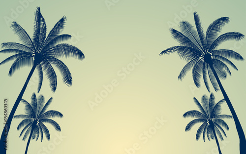Silhouette palm tree and sunset sky in flat icon design with vintage filter back Canvas Print
