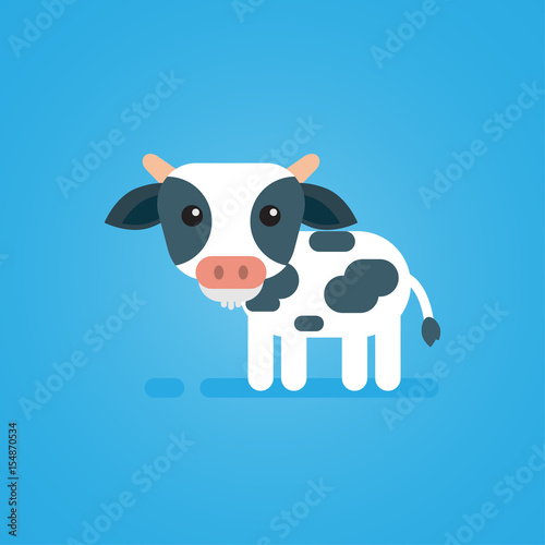 Fotobehang Boerderij Happy cute cow flat design on blue background, vector icon illustration.