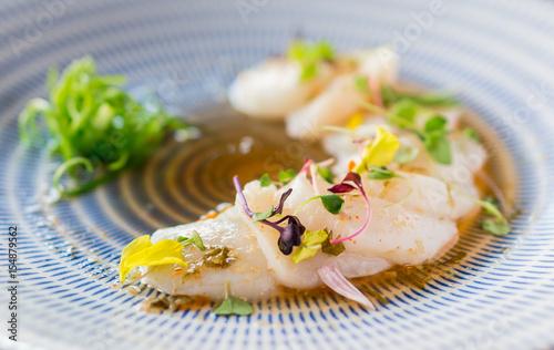 Closeup Of Raw Scallops Fine Dining Fresh Sashimi Dish Is A