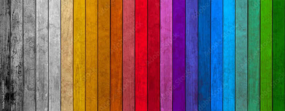 Fototapeta lamelles de bois colorés