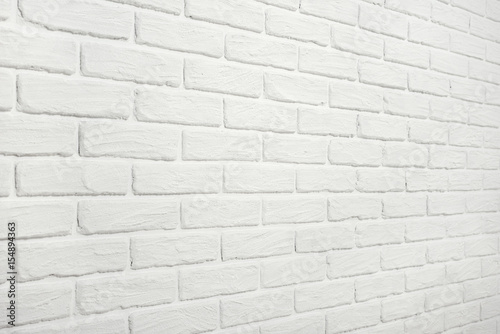 Foto op Plexiglas Wand white brick wall, angle view, abstract background photo