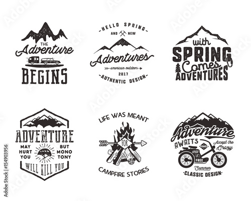 Foto auf Leinwand Camping Hiking adventure and outdoor explorer typography labels set. Outdoors activity inspirational quotes. Silhouette hipster logos. Best for t shirts, mugs. patches isolated on white background