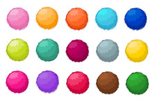 Colorful Fluffy Pompom Fur Balls Isolated Vector Set