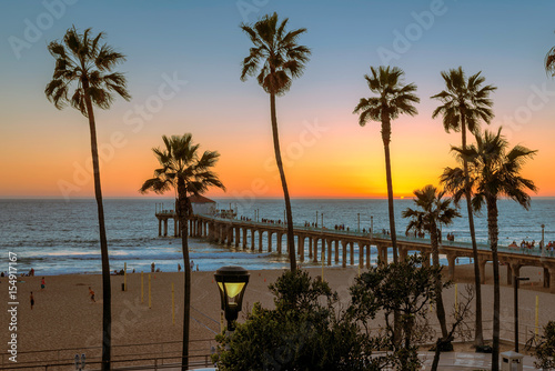 Photo sur Toile Los Angeles Sunset at Manhattan Beach and Pier in California, Los Angeles.