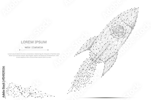 Abstract mash line and point rocket on white background with an inscription. Starry sky or space, consisting of stars and the universe. Vector business illustration