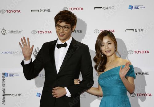 South Korean Actor Choi Daniel And Actress Seo Yeong Hee Pose Before