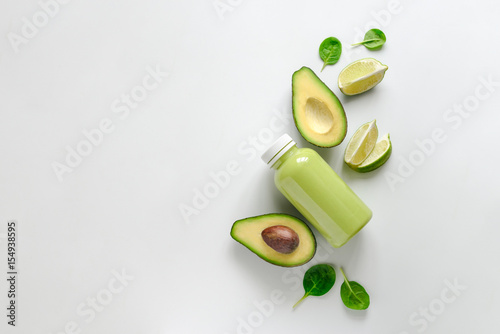 Avocado and spinach smoothies concept