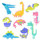 Fototapeta Dinusie - Cute funny dinosaurs. Collection of prehistoric animal characters vector Illustrations