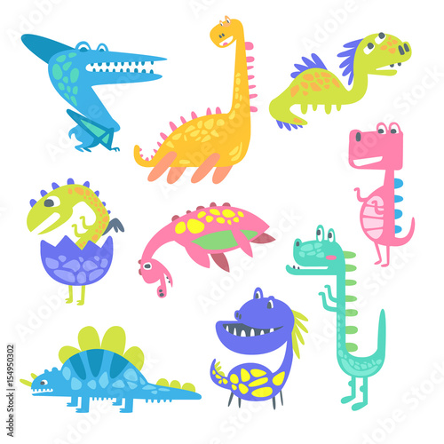 Photo  Cute funny dinosaurs