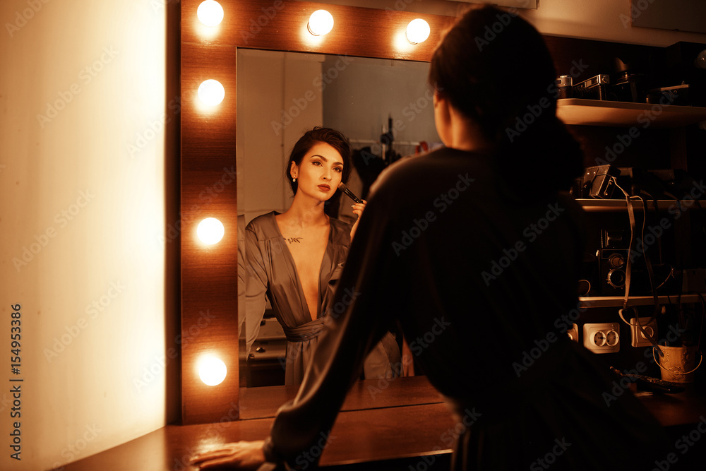 Fotografie, Obraz  Sexy girl near the mirror in the dressing room