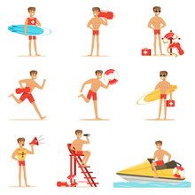 Lifeguard Man Character Doing ...