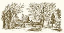 Vintage Landscape, New England...