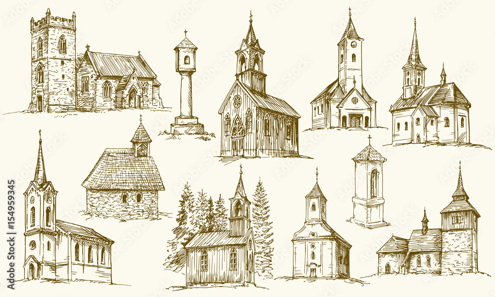 Fototapeta Set of old country churches. Hand drawn vector illustration.