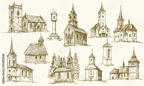 Leinwand Poster Set of old country churches. Hand drawn vector illustration.