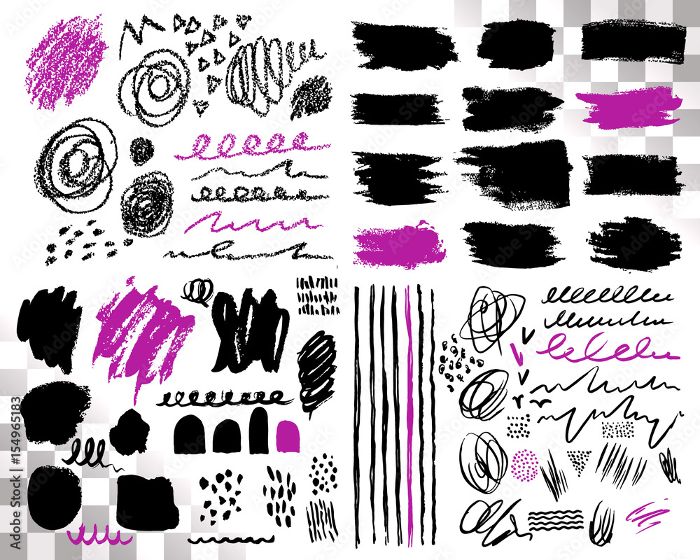 Fototapety, obrazy: Vector Set of brush acrylic strokes. Black violet color on white background. Hand painted grange elements. Ink drawing. Dirty artistic design . Place for text, quote, information, company name.