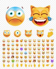 Set Of Emoticons On White Background. Isolated Vector Illustration