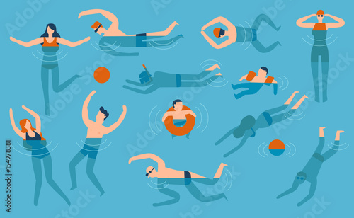 Photo  Flat design people are swimming in the swimming pool