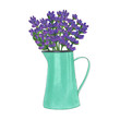 Iron jug with flowers bouquet of lavender marker illustration