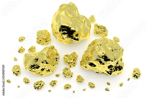 Photo Gold nuggets isolated on white background