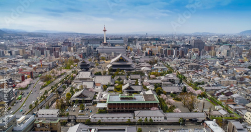 Foto op Plexiglas Kyoto Kyoto skyline with Kyoto Tower and Buddhist Temple