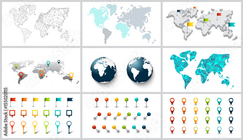 Vector dotted, connection, polygonal and 3d world map.