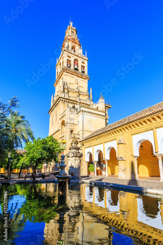 Cordoba, Spain. Bell tower at the Mezquita Mosque-Cathedral from Court of Oranges.