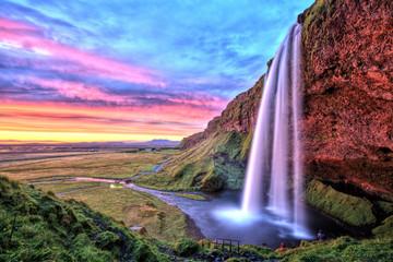 FototapetaSeljalandfoss Waterfall at Sunset, Iceland