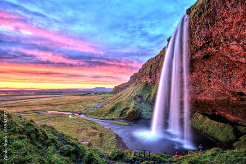 Staande foto Watervallen Seljalandfoss Waterfall at Sunset, Iceland
