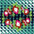 Hand drawn wreath flower roses tropical vintage print, halftone dots pattern retro background vector illustration for design, fashion, shirt, textile, greeting card, invitation, wedding