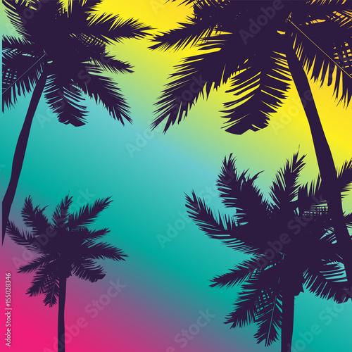 letni-motyw-czarne-palmy-na-kolorowym-tle-rozowy-niebieski-zolty-wektor
