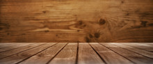 Wooden Table With A Wooden Wall