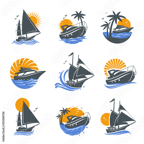 Set of yacht icons