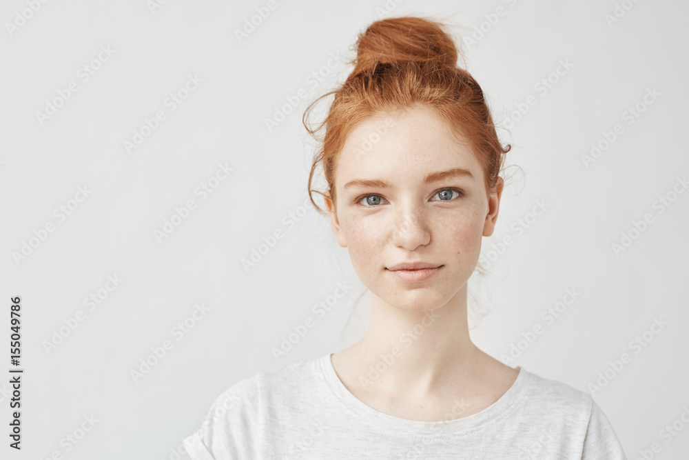 Fototapety, obrazy: Portrait of beautiful redhead girl smiling looking at camera.