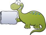 Fototapeta Dinusie - Cartoon illustration of a brontosaurus holding a sign.