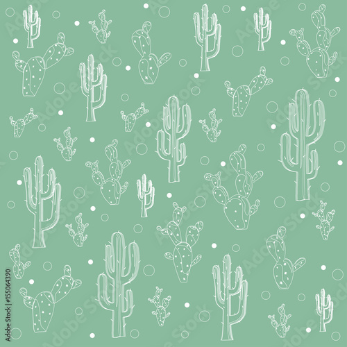 seamless-doodle-hand-drawn-cactus-pattern-over-green-background