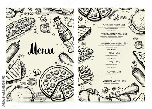 Food And Drink Menu Design With Prices Fast Food Vector Template