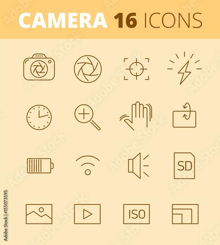 Digital photo camera outline icons: flash, timer, optical stabilizer ...
