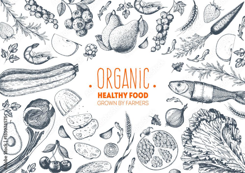 Fototapety, obrazy: Healthy food frame vector illustration. Vegetables, fruits, meat hand drawn. Organic food set