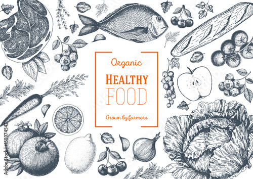 Poster Cuisine Healthy food frame vector illustration. Vegetables, fruits, meat hand drawn. Organic food set