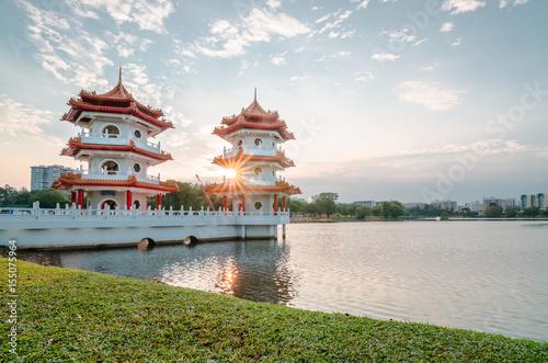 Fotografia, Obraz  Beautiful sunset at Singapore Chinese Garden, a public park in Jurong East, Singapore