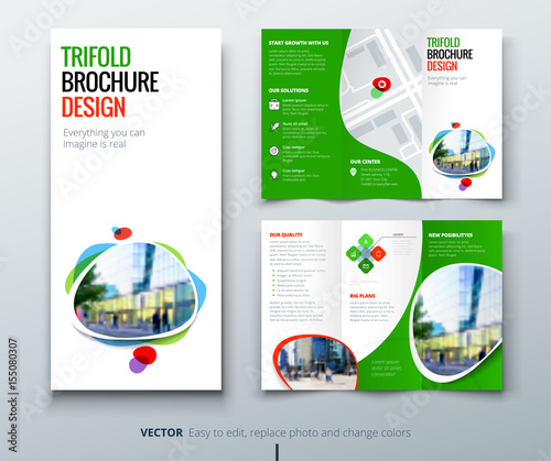 business tri fold brochure design green orange template for tri